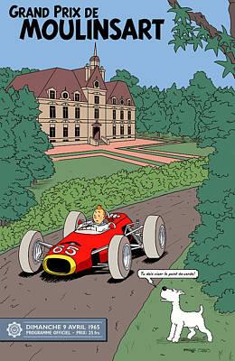Tintin Grand Prix De Moulinsart 1965  Poster