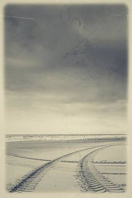 Tire Tracks On The Beach Poster by Marco Oliveira