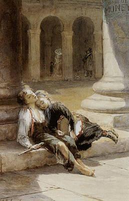 Tired Minstrels Poster by Augustus Edwin Mulready