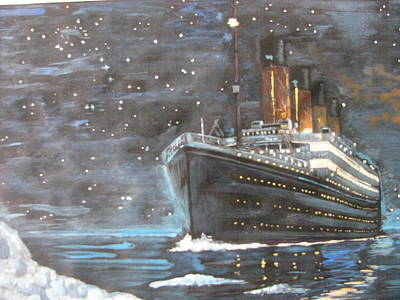 Poster featuring the painting Titanic Heading To Disaster by Vikram Singh