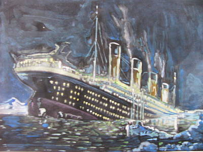 Poster featuring the painting Titanic Sinking by Vikram Singh