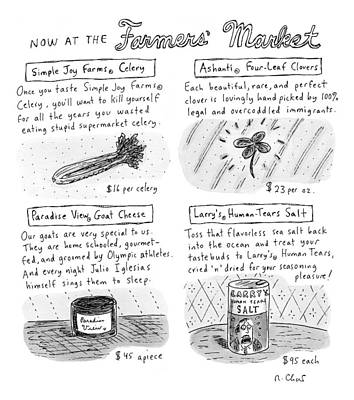 Title: Now At The Farmer's Market Four Products Poster by Roz Chast