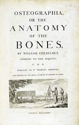 Title Page For 'osteographia' (1733) Poster by British Library