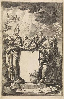 Title Page Of Adrian Spinniker De Werken En Vergelding Der Poster by Jan Luyken And Wed. Pieter Arentsz & Cornelis Van Der Sys (ii)