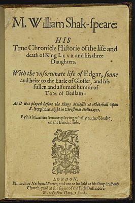 Title Page Of 'king Lear' Poster by British Library