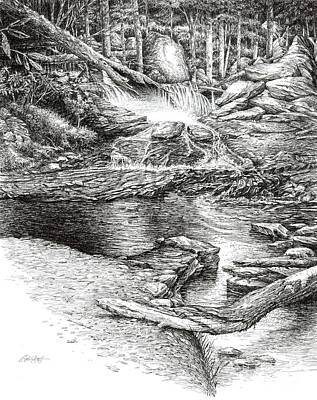 Poster featuring the drawing To Laurel Falls by Bob  George