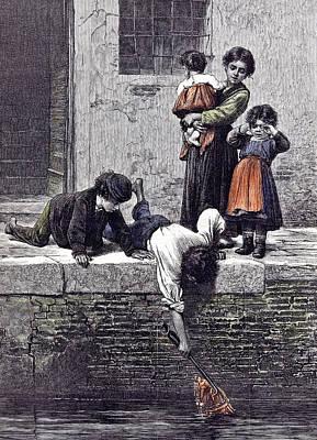 To The Rescue L. Passini 1878 Children Children Rescuing Poster