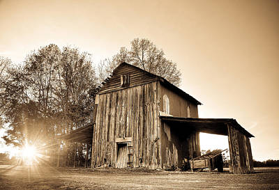 Tobacco Barn In Sunset Poster