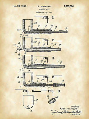 Tobacco Pipe Patent 1944 - Vintage Poster by Stephen Younts