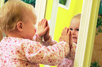 Toddler Interacting With A Mirror Poster by Thierry Berrod, Mona Lisa Production