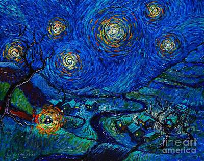 Toil Today Dream Tonight Diptych Painting Number 2 After Van Gogh Poster by Paul Hilario