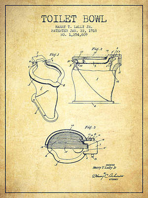 Toilet Bowl Patent From 1918 - Vintage Poster