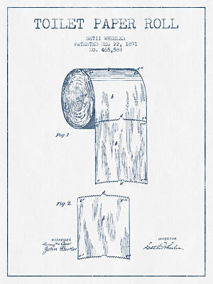 Toilet Paper Roll Patent Drawing From 1891  - Blue Ink Poster by Aged Pixel