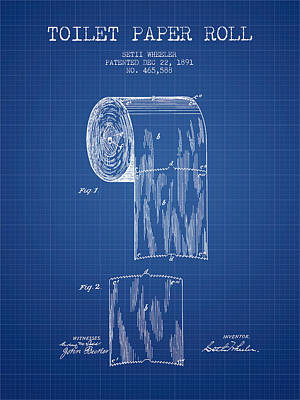 Toilet Paper Roll Patent Drawing From 1891 - Blueprint Poster by Aged Pixel
