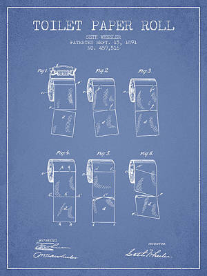 Toilet Paper Roll Patent From 1891 - Light Blue Poster