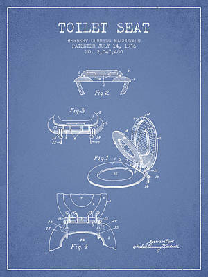 Toilet Seat Patent From 1936 - Light Blue Poster by Aged Pixel