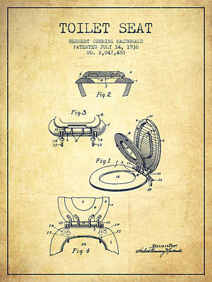 Toilet Seat Patent From 1936 - Vintage Poster
