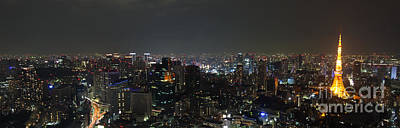 Tokyo Skyline At Night Japan Poster by Fototrav Print