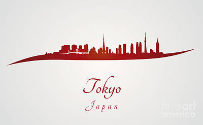 Tokyo Skyline In Red Poster by Pablo Romero