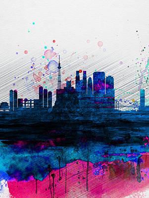 Tokyo Watercolor Skyline 2 Poster by Naxart Studio