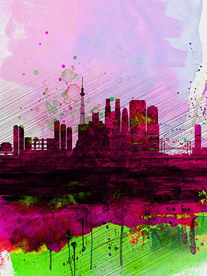 Tokyo Watercolor Skyline Poster by Naxart Studio