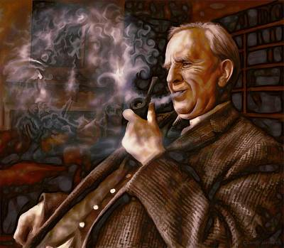 Poster featuring the painting Tolkien Daydreams by Dave Luebbert