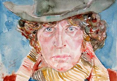 Tom Baker Doctor Who Watercolor Portrait Poster by Fabrizio Cassetta
