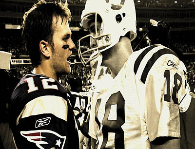 Tom Brady And Peyton Manning Face Off  Poster by Brian Reaves