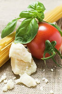 Tomato With Spaghetti, Parmesan And Basil Poster