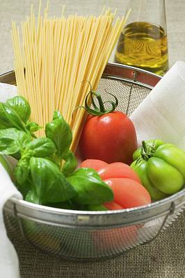 Tomatoes, Spaghetti And Basil In A Bowl Poster
