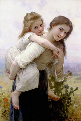 Poster featuring the digital art Too Much To Carry by Bouguereau