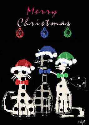 Poster featuring the digital art Toon Cats Christmas by Arline Wagner