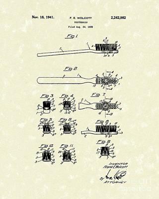 Toothbrush 1941 Patent Art Poster