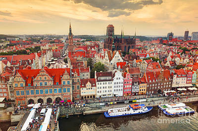 Top View On Gdansk Old Town And Motlawa River Poster
