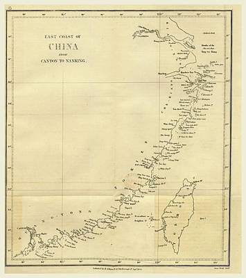Topographical Map Of The East Coast Of China From Canton Poster by Litz Collection