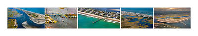 Topsail Island Aerial Panels Poster by Betsy Knapp