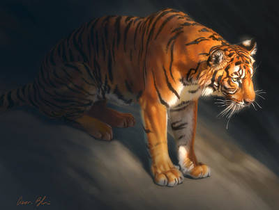 Poster featuring the digital art Torch Tiger 1 by Aaron Blaise
