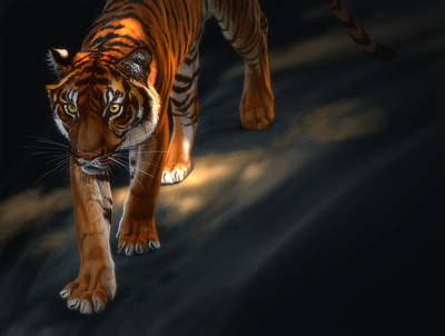 Poster featuring the digital art Torch Tiger 2 by Aaron Blaise
