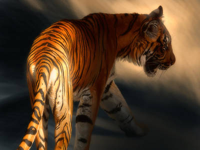 Poster featuring the digital art Torch Tiger 3 by Aaron Blaise