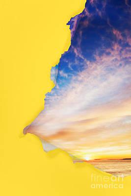 Torn Paper Sunrise Poster