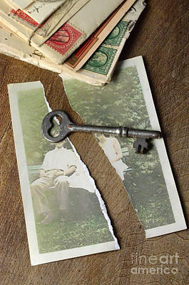 Torn Photograph With Key And Old Letters Poster by Jill Battaglia