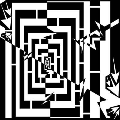 Torn Worm Hole Maze  Poster by Yonatan Frimer Maze Artist