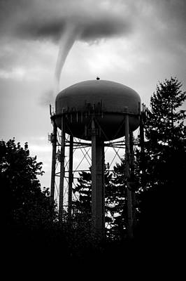 Black And White Poster featuring the photograph Tornado Tower by Aaron Berg