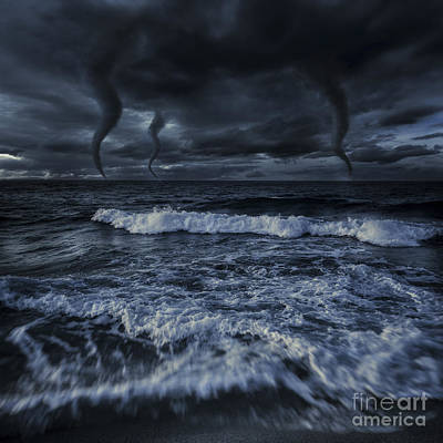 Tornados In A Rough Sea Against Stormy Poster