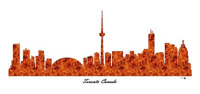 Toronto Canada Raging Fire Skyline Poster