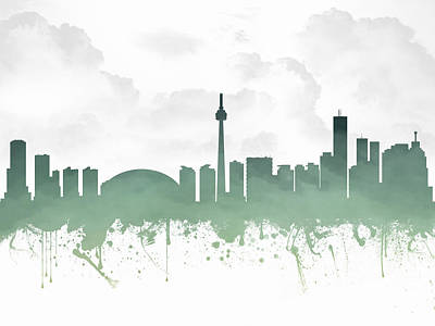 Toronto Ontario Skyline - Teal 03 Poster by Aged Pixel