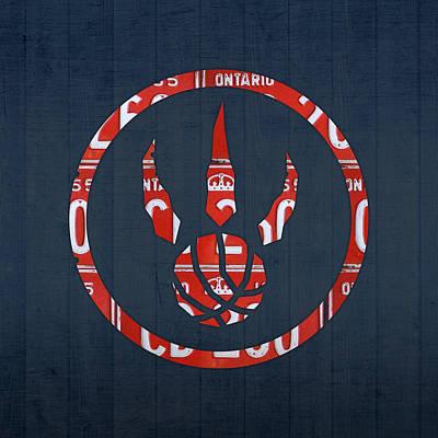 Toronto Raptors Basketball Team Retro Logo Vintage Recycled Ontario License Plate Art Poster by Design Turnpike