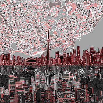 Toronto Skyline Abstract 5 Poster by Bekim Art