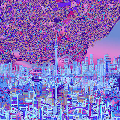 Toronto Skyline Abstract 8 Poster by Bekim Art