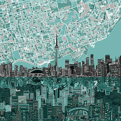 Toronto Skyline Abstract Poster by Bekim Art